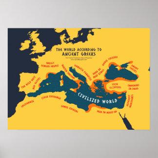 El mundo según griegos clásicos póster