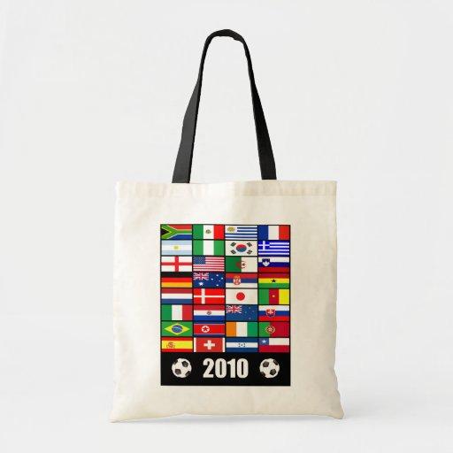 El mundo señala 2010 por medio de una bandera bolsa tela barata