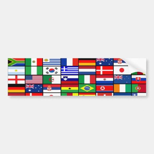 El mundo señala 2010 por medio de una bandera etiqueta de parachoque