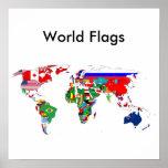 El mundo señala el poster por medio de una bandera