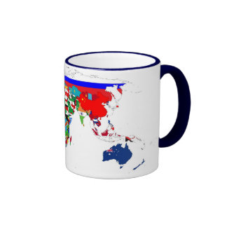 El mundo señala la taza por medio de una bandera