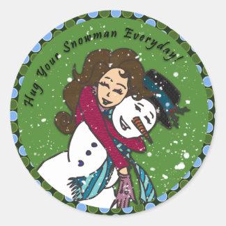 El muñeco de nieve abraza al pegatina