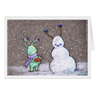 el muñeco de nieve de los sluggo tarjeta de felicitación