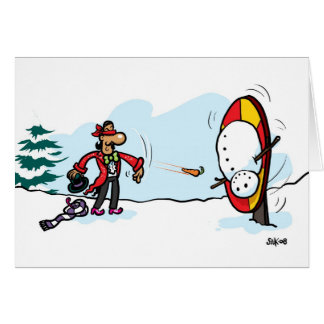 El muñeco de nieve del lanzador del cuchillo tarjeta de felicitación