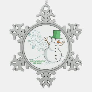 El muñeco de nieve divertido Farts los copos de Adorno De Peltre En Forma De Copo De Nieve
