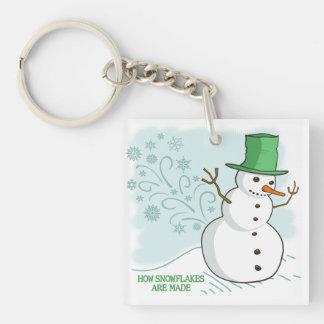 El muñeco de nieve divertido Farts los copos de Llavero Cuadrado Acrílico A Doble Cara