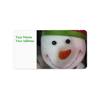 El muñeco de nieve feliz, su dirección de NameYour Etiquetas De Dirección