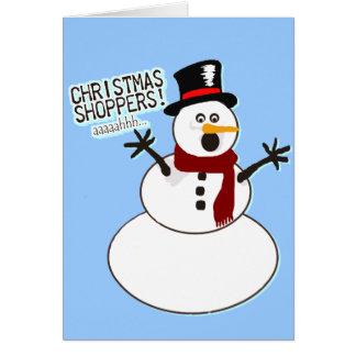 El muñeco de nieve huye de compradores del navidad tarjeta de felicitación