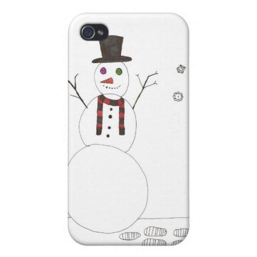 El muñeco de nieve iPhone 4/4S carcasas