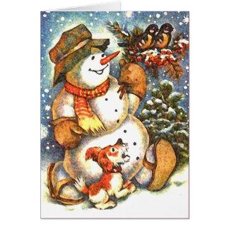 El muñeco de nieve le agradece cardar tarjetas