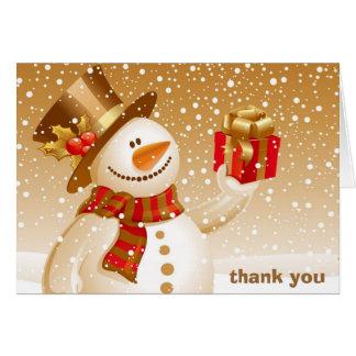El muñeco de nieve le agradece tarjeta de nota