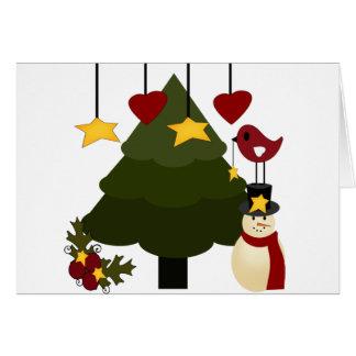 El muñeco de nieve lindo del árbol de los días de tarjeta de felicitación