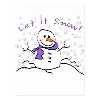 El muñeco de nieve lo dejó nevar los regalos tarjeta postal