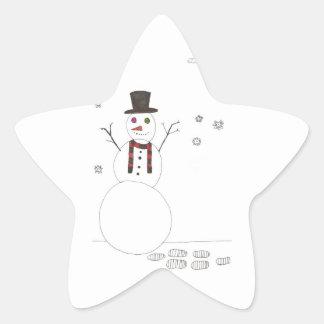 El muñeco de nieve pegatina en forma de estrella