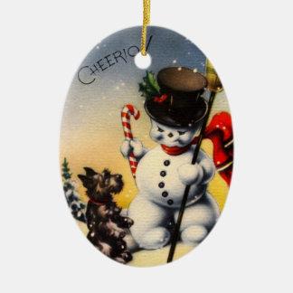 ¡El muñeco de nieve y el perro de Scotty dicen, Adorno Navideño Ovalado De Cerámica