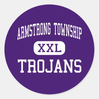 El municipio de Armstrong - Trojan - alto - Etiquetas Redondas