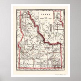 El municipio de Idaho y mapa 1896 del ferrocarril Póster