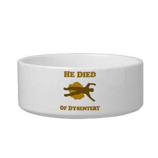 Él murió del cuenco del mascota de la disentería comedero para mascota