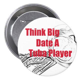 """El músico de la tuba """"piensa"""" el botón grande pin redondo de 3 pulgadas"""