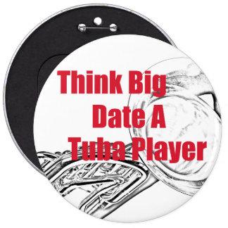 """El músico de la tuba """"piensa"""" el botón grande pin redondo de 6 pulgadas"""