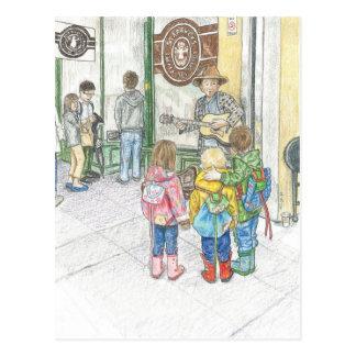 El músico en el mercado de Pike Tarjeta Postal