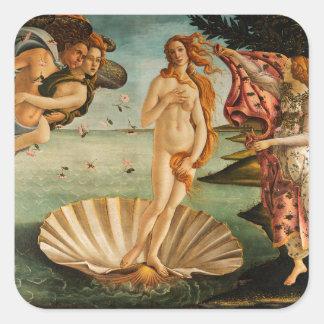 El nacimiento de Botticelli de Venus Calcomania Cuadrada Personalizada