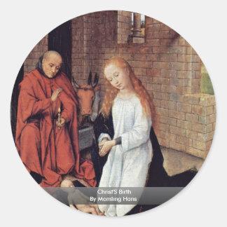 El nacimiento de Cristo de Memling Hans Pegatina Redonda