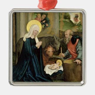 El nacimiento de Cristo Adorno Cuadrado Plateado