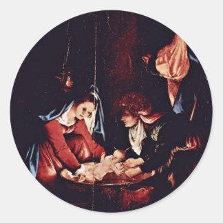 El nacimiento de Cristo nacimiento de Jesús Pint Etiqueta Redonda