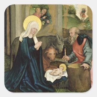 El nacimiento de Cristo Pegatina Cuadradas Personalizadas