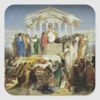 El nacimiento de Cristo Pegatinas Cuadradas