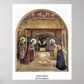 El nacimiento de Cristo por Fra Angelico Póster