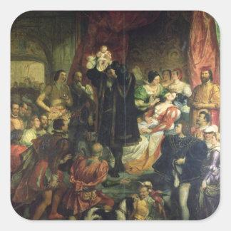 El nacimiento de Enrique IV (1553-1610) en el Pegatina Cuadrada