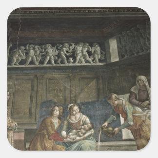El nacimiento de la Virgen, 1485-90 Pegatina Cuadrada