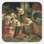 El nacimiento de St. John el Bautista, 1550-59 Calcomanías Cuadradas