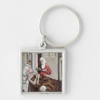 El nacimiento de St. John el Bautista Llavero Cuadrado Plateado