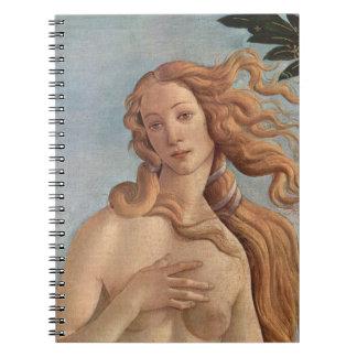 El nacimiento de Venus por Botticelli, arte Note Book