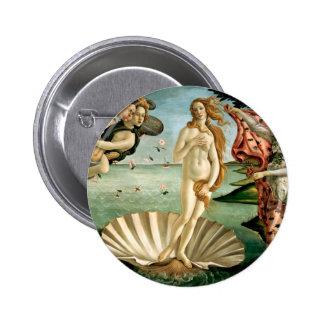 El nacimiento de Venus por Botticelli Pin Redondo 5 Cm