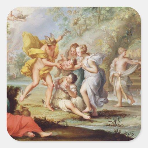 El nacimiento del Bacchus Pegatina Cuadrada
