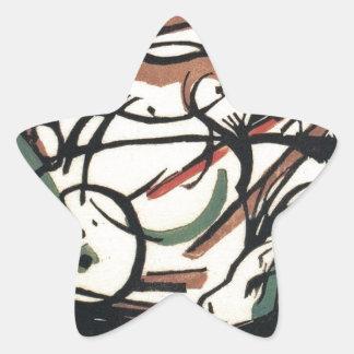 El nacimiento del caballo de Franz Marc Pegatina En Forma De Estrella