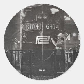 El nacimiento del ferrocarril de la central de pegatina redonda