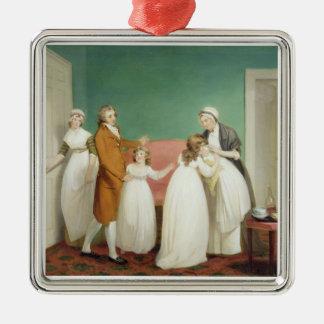 El nacimiento del heredero, c.1799 (aceite en adorno navideño cuadrado de metal