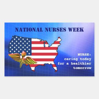 El nacional cuida a los pegatinas de la semana rectangular pegatinas