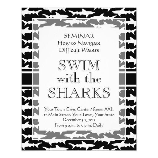 """El nadar con el modelo divertido del tiburón de lo folleto 4.5"""" x 5.6"""""""