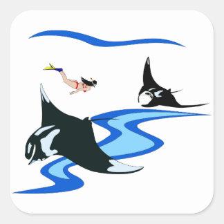 El nadar con el rayo de Manta Pegatina Cuadrada