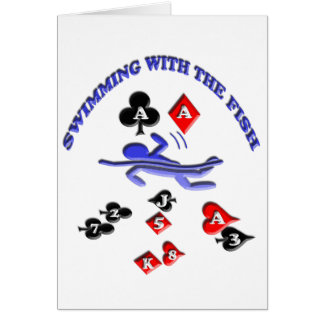 el nadar con los pescados tarjeta de felicitación