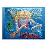 El nadar con los pescados tropicales postal