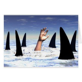 El nadar con los tiburones tarjeta de felicitación