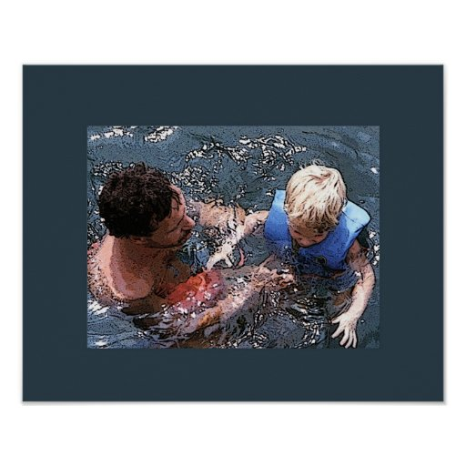 El nadar en el lago póster