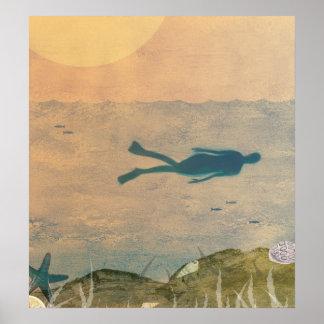 El nadar en el océano póster